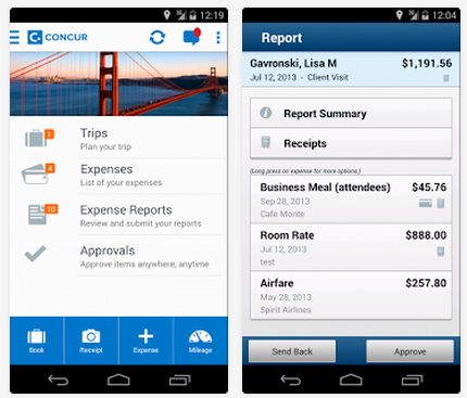 Concur App User Interface