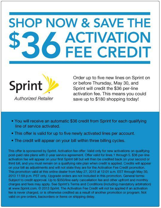 Sprint Activation Fee Credit Promotion Details