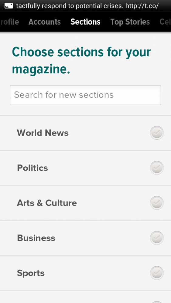 Zite App Screen Shot - News Categories