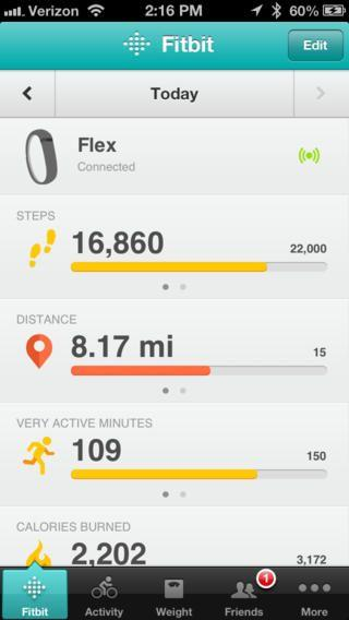 Fitbit Smartphone App Dashboard Screen