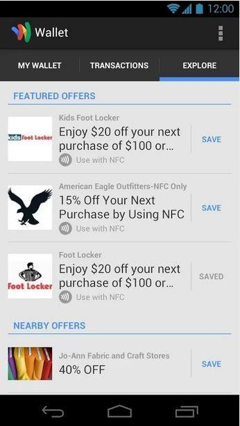 Featured Offers In Google Wallet