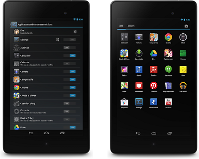 Android 4.3 screen shots restrictive profiles